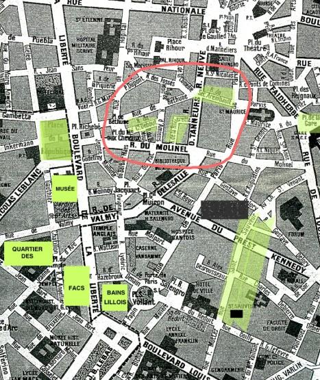 Plan de Lille avec surlignage des principaux lieux évoqués