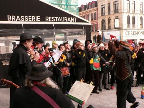 Avec l'orchestre de kazoos, à Roubaix