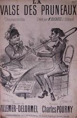 Partition de la Valse des pruneaux : une dame élégante, à chapeau, et un joueur de trombone illustrent la première page