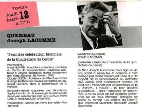 Programme de la FNAC annonçant le forum avec une photo de Queneau