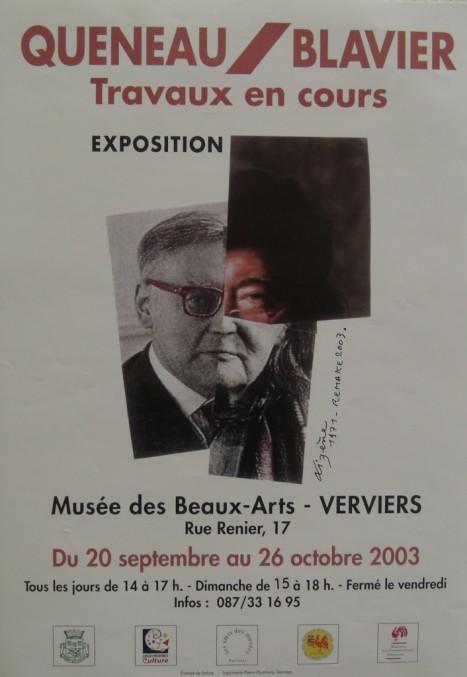 Affiche de l'exposition Queneau/Blavier. Elle représente un montage des deux visages de ces hommes