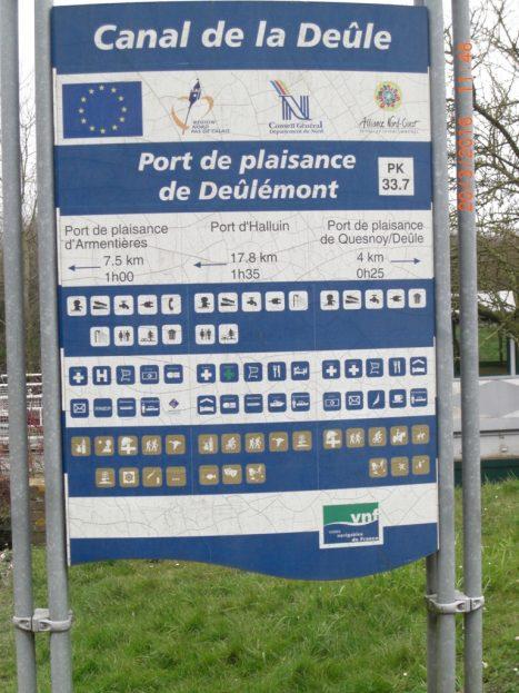 panneau du port de plaisance de Deûlémont